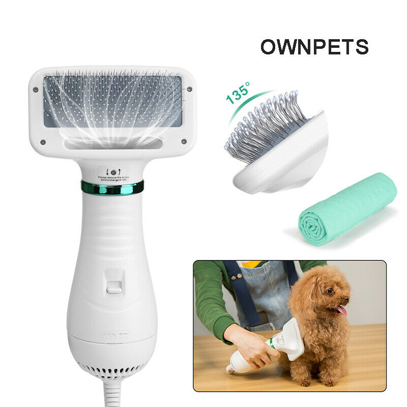 2 In 1 Pet Hair Dryer Blower Slicker Brush Portable Dog Cat Grooming Low Noise