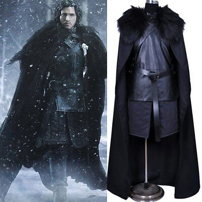 US SELLER Game of Thrones Jon Snow Men Cosplay Costume Halloween Cloak Outfit - Jon Snow Game Of Thrones Halloween Costume