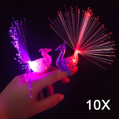10pcs Finger Light Up Ring Laser LED Party Rave Favors Glow Beams Toys Peacock