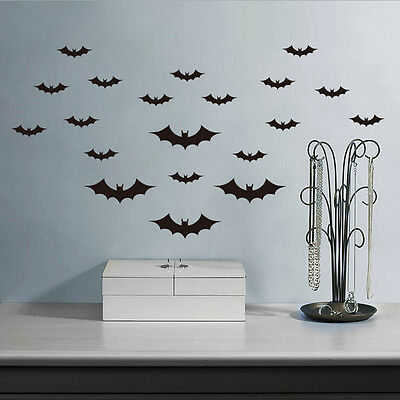 20 Pcs/Set Black Bats Halloween Decoration Wall Sticker Cartoon Removable - Halloween Decorations New Jersey