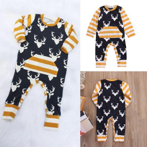 Newborn Baby Girl Boys Deer Clothes Bodysuit Romper Jumpsuit
