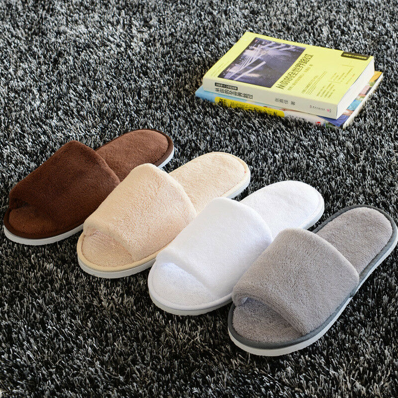Womens Mens Open Toe Warm Slippers Anti-slip Slippers Fleece House Indoor Shoes