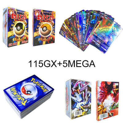 HOT 120Pcs Pokemon Cards 115 GX + 5 MEGA Holo Flash Trading Card Bundle Mixed US
