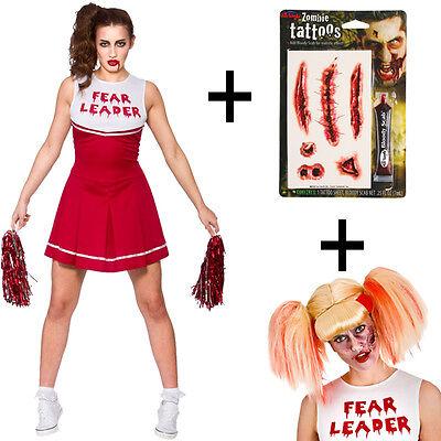Ladies High School Zombie Cheerleader Horror Halloween Fancy Dress Costume + Wig