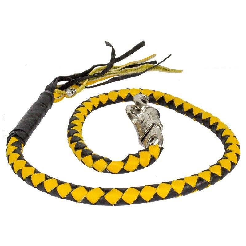 """42"""" Long Genuine Braided Black & Yellow Leather Motorcycle Get Back Whip"""