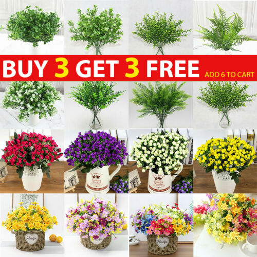 Home Decoration - Artificial Flowers Plants Indoor Outdoor Fake Bouquet Graves Garden Home Decor