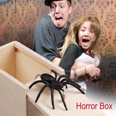 Wood Surprise Scare Box Fake Spider Gag Joke Prank Funny Horror Trick Play Toy