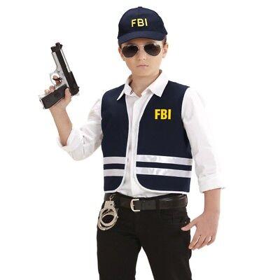 2 tlg FBI AGENT Kinder Kostüm - Weste mit Cap - Gr. 140 für 8 - 10 - Fbi Agent Kostüm Weste