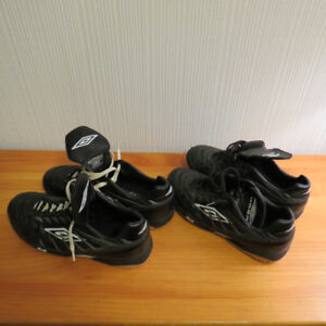 Indoor soccer shoes and warm-up pants.