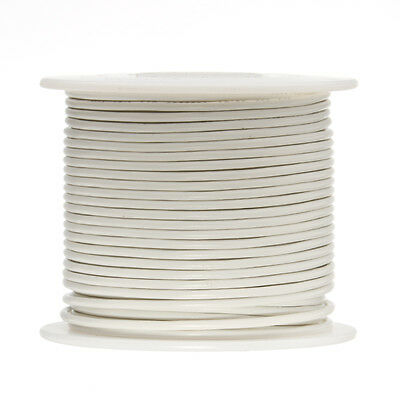 16 Awg Gauge Solid Hook Up Wire White 100 Ft 0.0508 Ul1007 300 Volts