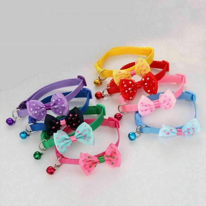 Adjustable Dog Collars Pet Collars Bells Bow Necklace Collar