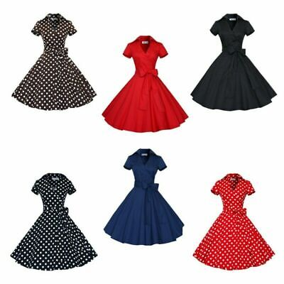 - 50s 60s Retro Hepburn Style V-Neck Swing Lapel Rockabilly Housewife Pinup Dress