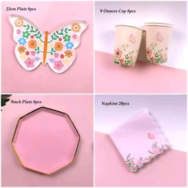 Designer Butterfly Paper Plates Set 100pcs