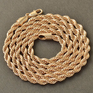 24inches 18k Rose Gold Mens Womens Unisex Rope Chain Necklace