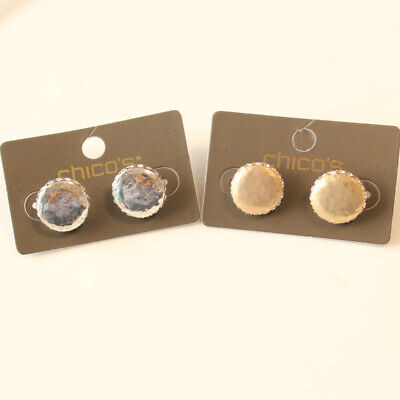 2' Round Button Earrings Jewelry - New Chicos Button Stud Earrings Gift Vintage Women Party Jewelry 2Colors Chosen