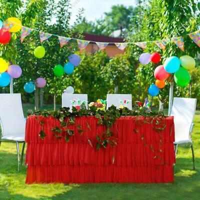 Ruffled Table Skirt (3 Tier Ruffled Mesh Fluffy Tulle Table Skirt Tutu Skirting Wedding Party)