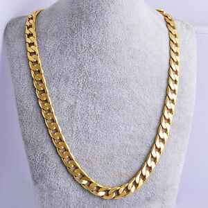 New Yellow Solid Gold Filled Cuban Chain Necklace Thick Mens Jewelry Womens Cool