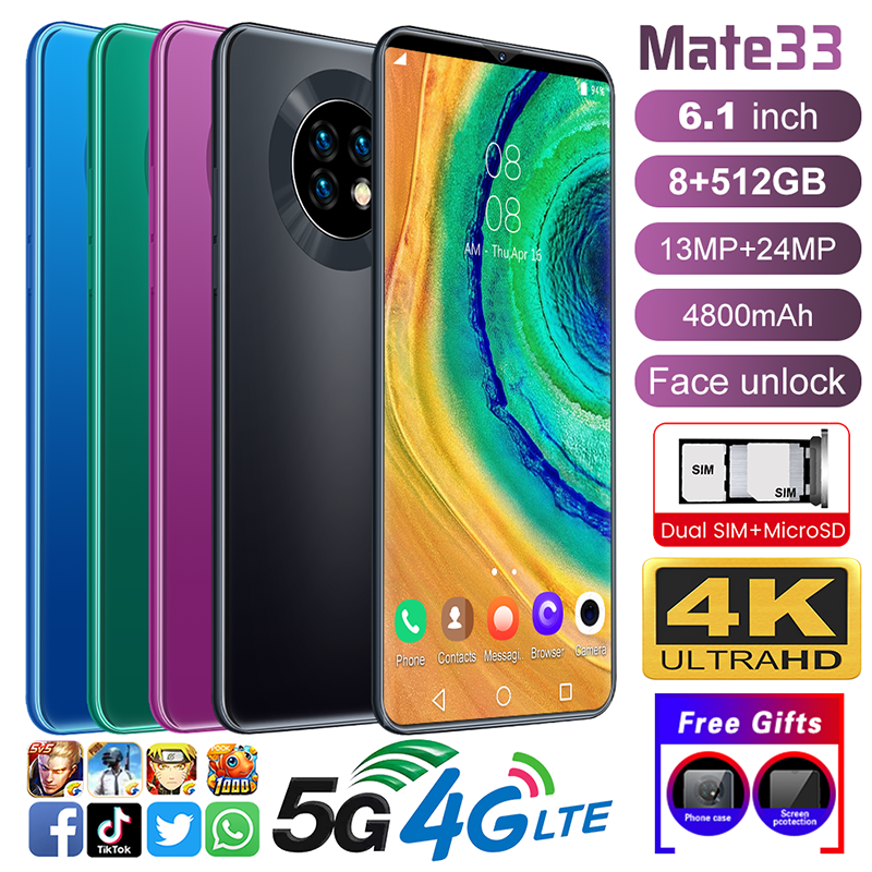 "Mate33 6,1"" Android 10,0 Smartphone 8G+512G Dual-SIM Handy 13+24MP 10 Core"