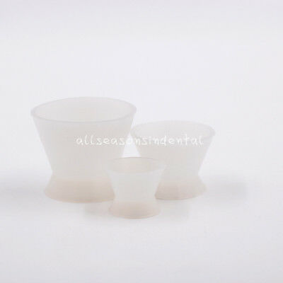 3 Sizes Dental Flexible Rubber Silicone Mixing Bowls Cup Nonstick Mixed Sml
