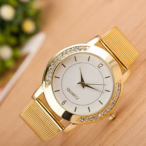 Fashion Women's Crystal Gold Stainless Steel Analog Quartz Bracelet Wrist Watch