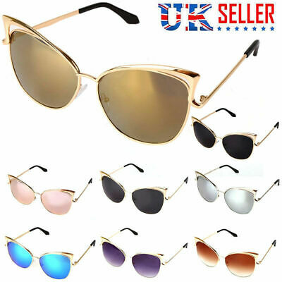 Fashion Womens Gold Metal Cat Eye Oversized Designer Retro Vintage Sunglasses