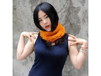 DAYMISFURRY--Dyed Orange Mink Fur Elastic Headband