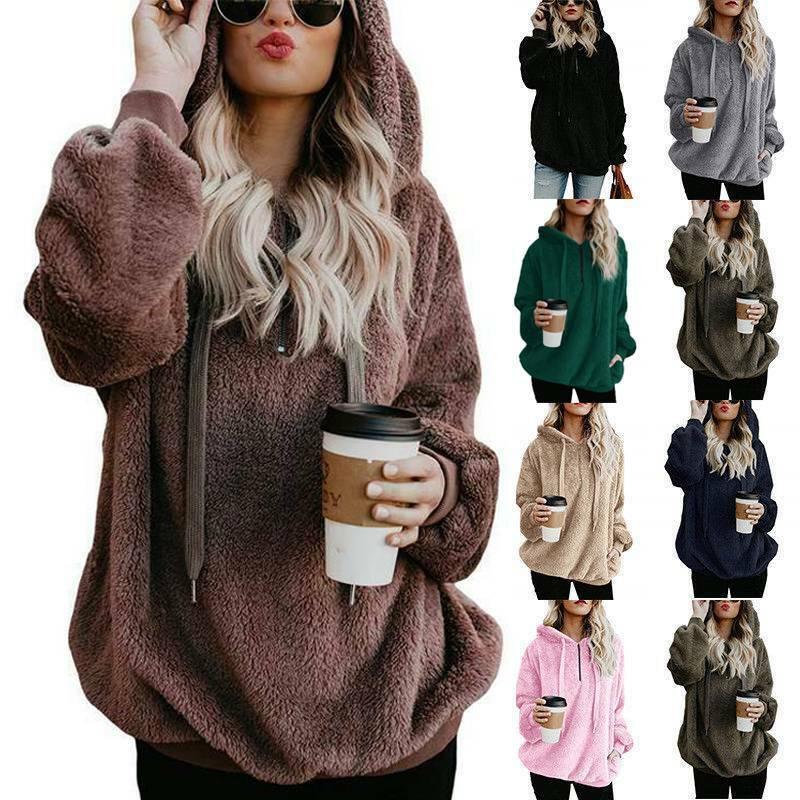 Women Long Sleeve Teddy Bear Fleece Sweatshirt Hoodie Hooded