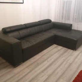 Black natural leather corner sofa bed