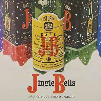 1970 J&B Scotch Jingle Bells Christmas Red Green Gift Box photo art vintage ad