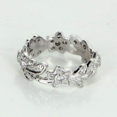 (Diamond Platinum Eternity Ring Sz 5 3/4 Vintage Fine Estate Jewelry Flower Leaf)