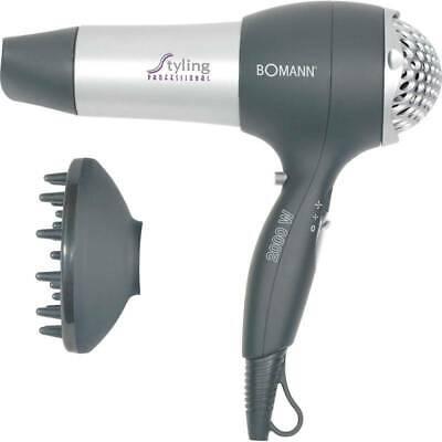 BOMANN HTD 889 Secador de pelo, 3 temperatura, 2 velocidades, difusor, 2000...