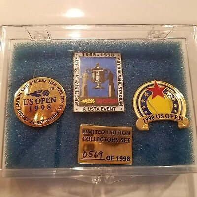 1998 US Open Pin Badges (x3) - Limited Edition Collectors Set