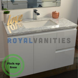 Bathroom Vanity Gloss White Marble Top 900 mm