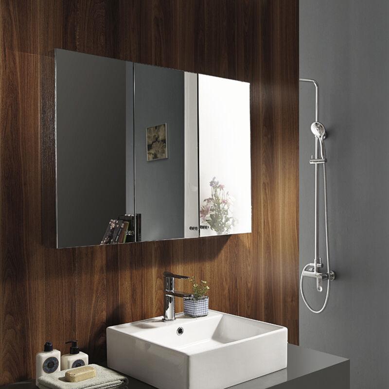 Triple door mirror stainless steel cabinet wall mounted - Wall mounted mirrored bathroom cabinet ...