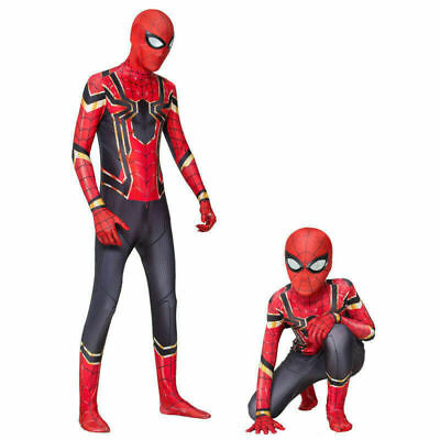 US Stock Iron Spider Jumpsuits Spider-Man Cosplay Costume Adult Spandex Bodysuit