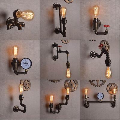 Vintage Industriell Metall Wasserpfeife Steampunk Wandleuchte Licht Einbau