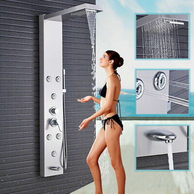 -  Brushed Nickel Bath Rainfall Shower Head Faucet Shower Panel Column Spa Jet