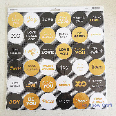 Kaisercraft 12x12 Sticker Sheet Collection Christmas theme 24 selections - A Touch of Gold