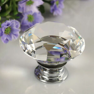 30mm diamant verre cristal bouton poign e de porte tiroir cabinet meuble knob - Bouton de tiroir original ...