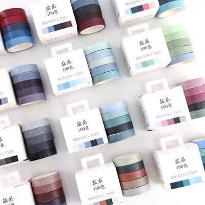 5pcs Washi Tape Set Solid Rainbow Paper Adhesive Sticker Masking Scrapbook - Washi Tape Cheap