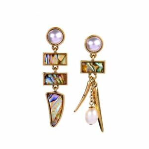 Betsey Johnson Asian Beaches Gold Abalone Pearl Long Dangle Stud Earrings