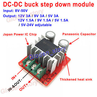 Mini Dc-dc Buck Step Down Converter 9v-48v 24v To 5v 9v 12v 1.5a 3a Power Supply