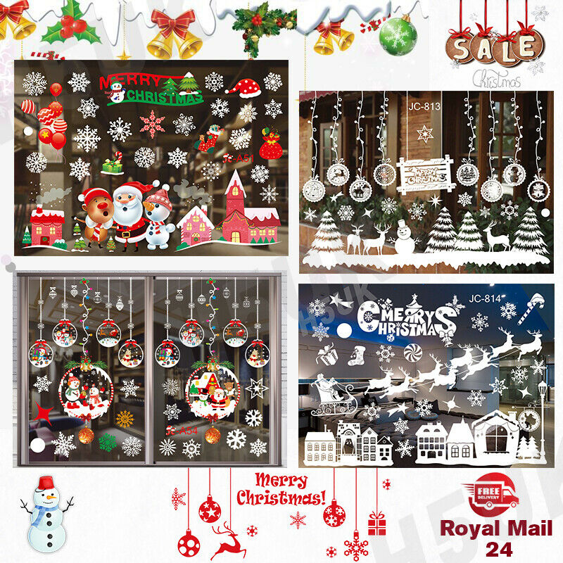 Home Decoration - Christmas Xmas Santa Removable Window Stickers Art Decals Wall Home Shop Decor