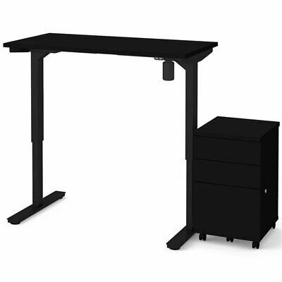 Bestar 48 Electric Adjustable Standing Desk With File Cabinet
