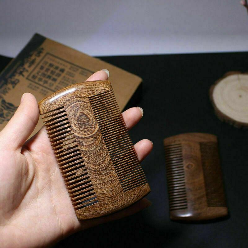 Green Sandalwood Pocket Beard Hair Combs 2Size Anti-static N