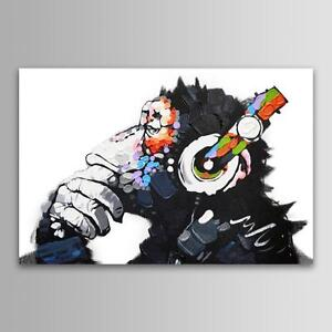 Unframed Modern Abstract Wall Art DJ MONKEY Chimp On Canvas Animal Print Picture