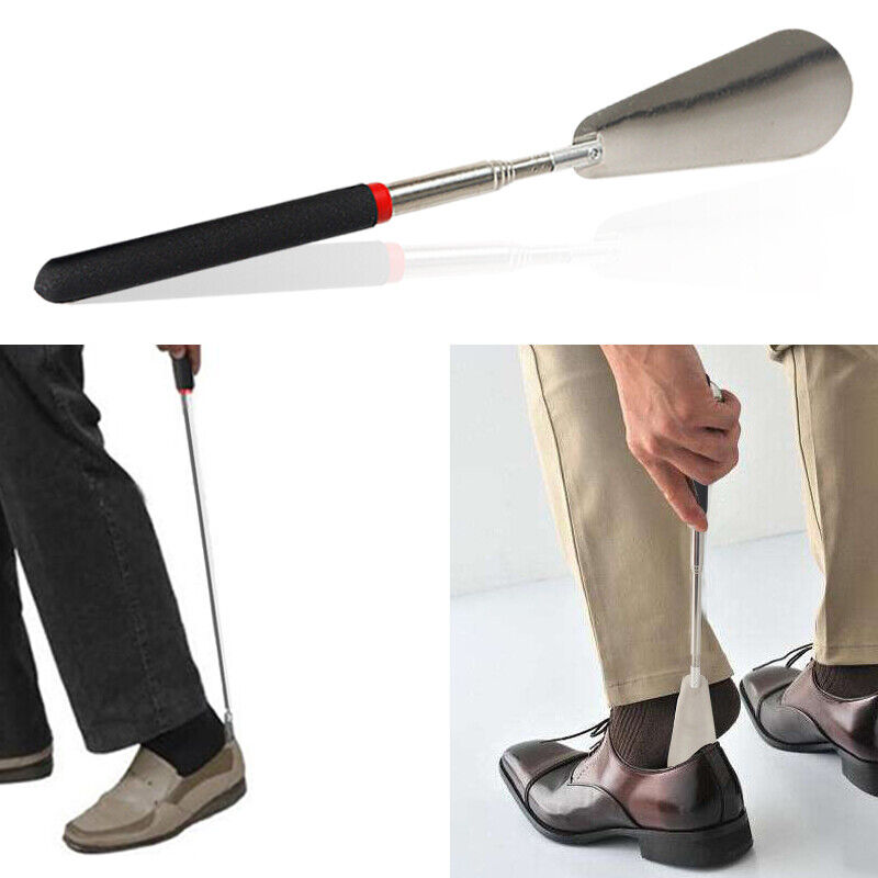 1pc telescopic adjustable handle shoe horn stainless