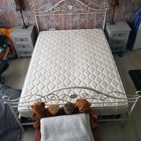 Laura Ashley double bed with mattress.