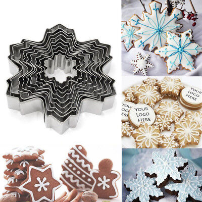 9pcs Christmas Stainless Steel Snowflake Cookie Cutter Cake Baking Decor Tools - Snowflake Cookie