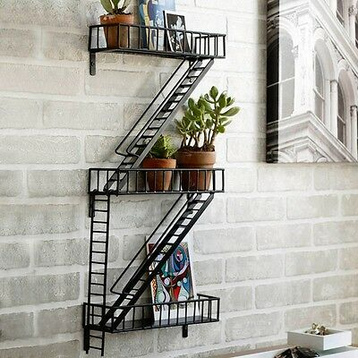 Fire Escape Modern Home Ladder Wall Decor Shelf Plant Photo Display Design Ideas